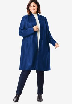 Leather Swing Coat, EVENING BLUE