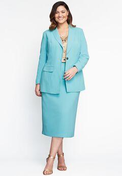 Single-Breasted Skirt Suit, DUSTY AQUA