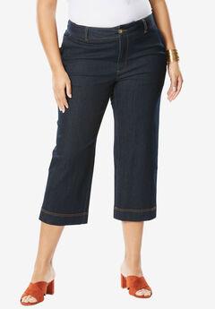 Wide Leg Cropped Jean, INDIGO