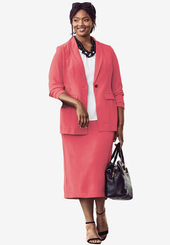 Single-Breasted Skirt Suit, CORAL ROSE