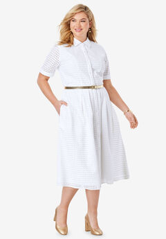 Eyelet Shirt Dress, WHITE