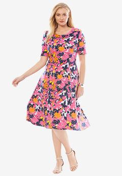 Ponté Knit Elbow Dress with Scoop Neckline, PASSION PINK BOTANICAL PRINT, hi-res
