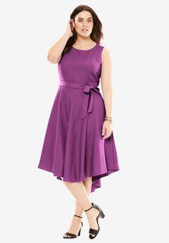 Tie-Waist Fit-And-Flare Dress, PLUM PURPLE, hi-res