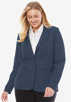 Single-Breasted Linen Blazer, NAVY, hi-res