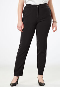 Tummy Control Bi-Stretch Straight-Leg Pant, BLACK