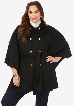 Double-Breasted Wool Poncho,