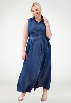 Tencel® Fit & Flare Maxi Dress,
