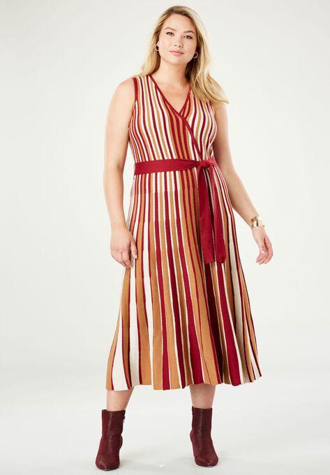 Faux Wrap Metallic Sweater Dress Plus Size Cocktail Dresses Roamans
