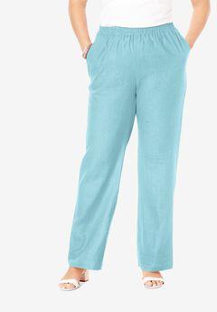 Lightweight Linen-Blend Straight-Leg Pants, LIGHT AQUA