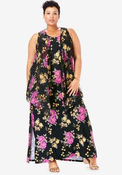 Travel Knit Maxi Dress & Vest Set, BLACK BOUQUET