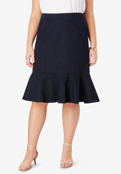 Refined Denim Flounce Skirt,