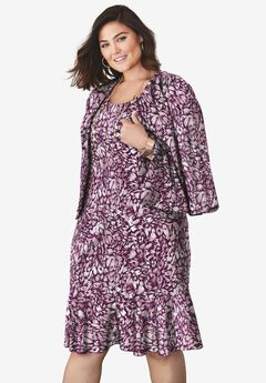 Ponte Jacket Dress, BERRY ABSTRACT PRINT