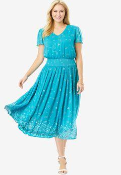 Smocked Midi Dress,