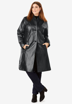 Leather Swing Coat, BLACK, hi-res