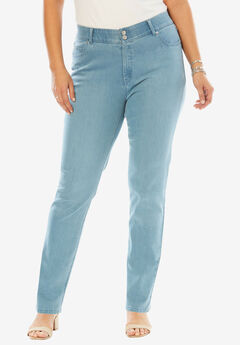Tummy Control Straight Jean, LIGHT WASH SANDED