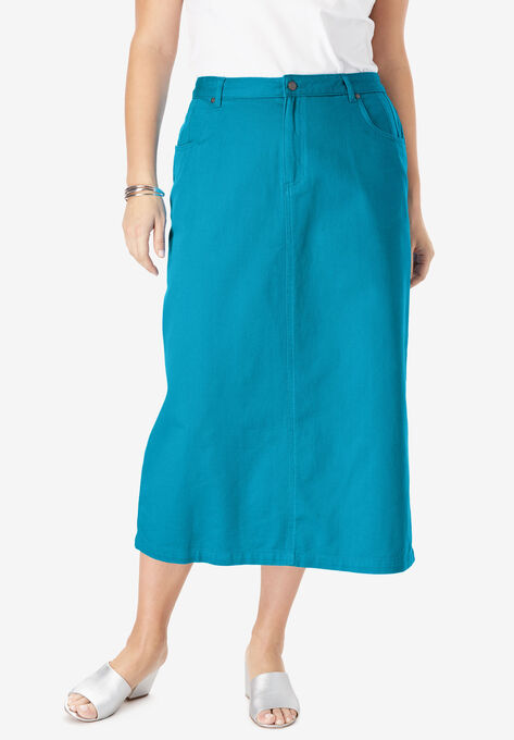 243bb2d8bf Classic Cotton Denim Long Skirt| Plus Size Skirts | Roaman's