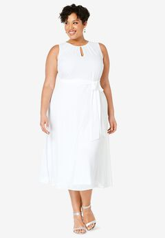 Belted Georgette Dress, WHITE