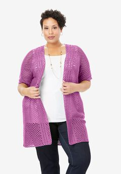 Crochet Long Cardigan, PRETTY ORCHID