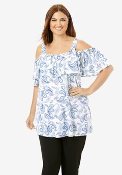 Cold Shoulder Ruffle Tunic,