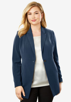 Bi-Stretch Blazer, NAVY