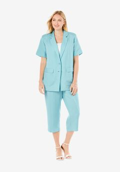 Short Sleeve Linen Capri Set,