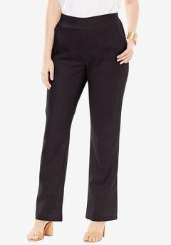 Pull-On Linen Pants, BLACK, hi-res