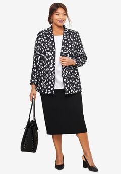 Single-Breasted Skirt Suit, BLACK VERTICAL PAINT BRUSH