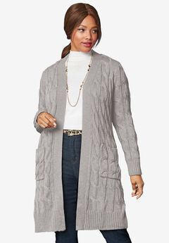 Cable Duster Sweater, MEDIUM HEATHER GREY