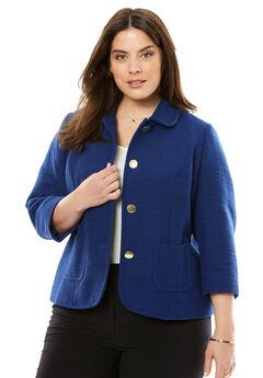 The Textured Tweed Crop Blazer, EVENING BLUE, hi-res