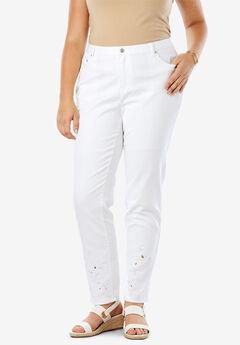 Embellished Jeans, WHITE