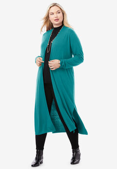 Cotton Cashmere Duster Sweater, GEMSTONE GREEN
