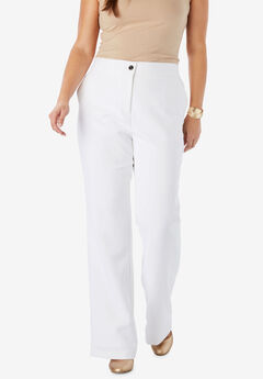 Tummy Control Bi-Stretch Bootcut Pant, WHITE