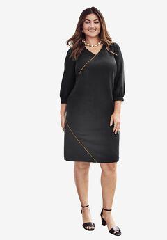 A-Line Gold Trim Dress, BLACK, hi-res