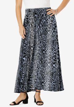 Everyday Knit Maxi Skirt, GREY BOLD LEOPARD