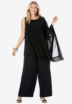 2-Piece Pant Set, BLACK