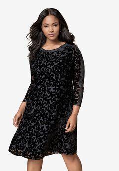 Burnout Velvet Fit-And-Flare Dress, BLACK, hi-res