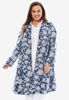Pleated Trench Coat, FLORAL DOT PRINT, hi-res