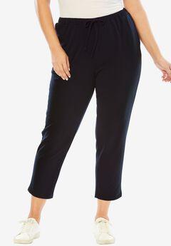 Pure Ease Tapered Crop Pants, BLACK, hi-res