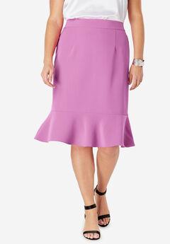 Flounced Bi-Stretch Skirt, FUCHSIA PINK