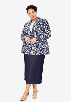Single-Breasted Skirt Suit, TWILIGHT ETCHED FLORAL