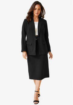 2-Piece Single-Breasted Skirt Suit, BLACK, hi-res