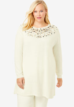 Jewel Neck Cotton Cashmere Sweater, IVORY SEQUIN