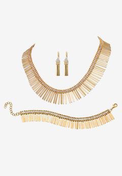 "Gold Tone Fringe Necklace, Bracelet and Earring Set, Crystal, 17"","