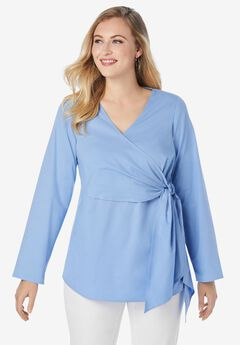 Side Tie Poplin Blouse,