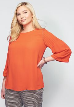 Pintuck Sleeve Blouse,
