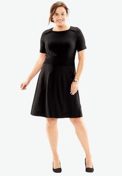 Textured Short Sleeve Fit & Flare Dress, BLACK, hi-res