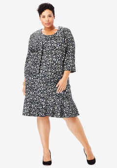 Ponte Jacket Dress, BLACK ABSTRACT DOT