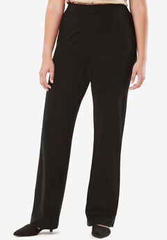 Wide Leg Trousers in Ponte Knit, BLACK, hi-res