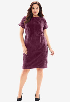 Soft Suede Dress with Crewneck, MIDNIGHT BERRY, hi-res