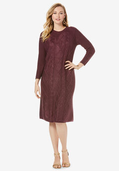 Cable Sweater Dress, DARK BERRY